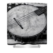Old Mandolin Banjo In Black And White Shower Curtain