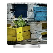 Old Pallet Painted White, Blue And Yellow Used As Flower Pot Shower Curtain