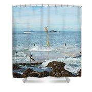 old pier at North berwick and Forth estuary Shower Curtain