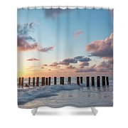 Old Pier Pilings II Shower Curtain by Brian Jannsen