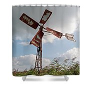 Old Rusty Windmill. Shower Curtain by Anjo Ten Kate