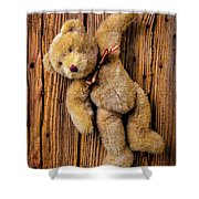 Old Teddy Bear Hanging On The Door Shower Curtain