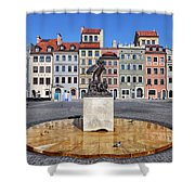 Old Town Market Square Of Warsaw In Poland Shower Curtain