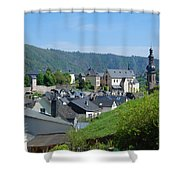 old town walls and church and buildings of Cochem Shower Curtain