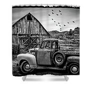 Old Truck At The Barn Bordered Black And White Shower Curtain