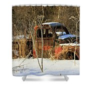 Old Truck In Winter Snow In Hope Alaska Shower Curtain