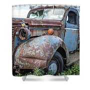Old Vintage Blue Pickup Truck Among The Weeds Shower Curtain