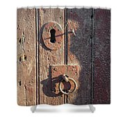 Old Wooden Door And Keyhole Shower Curtain