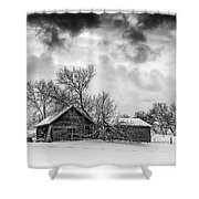 On A Winter Day Monochrome Shower Curtain