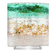 On The Beach Abstract Painting Shower Curtain