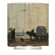 On The Beach At Trouville  Shower Curtain