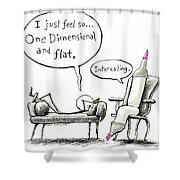 One Dimensional Feeling Shower Curtain