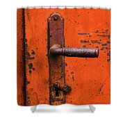 Orange Door Handle Shower Curtain