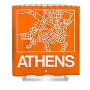Orange Map Of Athens Shower Curtain