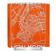 Orange Map Of New York Shower Curtain