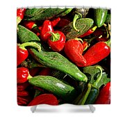 Organic Red And Green Peppers Shower Curtain