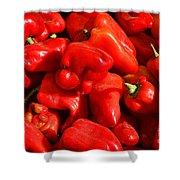 Organic Red Peppers Shower Curtain