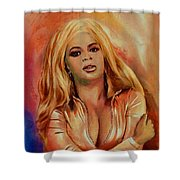 Original Fine Art Multimedia Painting Beyonce In Gold Shower Curtain by G Linsenmayer