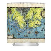 Outer Banks Historic Antique Map Hand Painted Shower Curtain