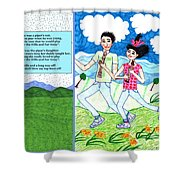 Over The Hills And Far Away With Words Shower Curtain