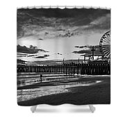 Pacific Park - Black And White Shower Curtain