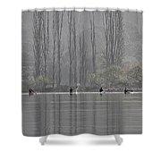 Paddling Under Poplars Shower Curtain