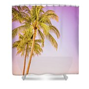 Palm Trees And Pink Sky Shower Curtain