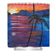 Palm Trees And Water Shower Curtain