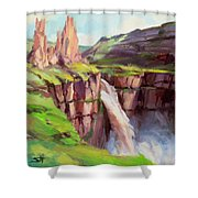 Palouse Falls Rush Shower Curtain