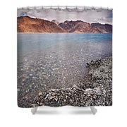 Pangong Tso Shower Curtain by Whitney Goodey