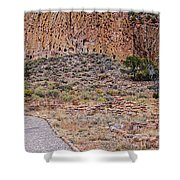 Panorama Of Ancient Tyuonyi Pueblo Dwellings At Bandelier National Monument - Los Alamos New Mexico Shower Curtain
