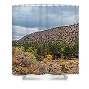 Panorama Of Cliff Dwelling And Fall Cottonwoods In Frijoles Canyon - Bandelier National Monument  Shower Curtain