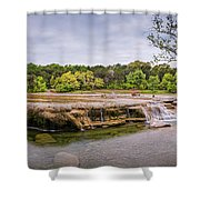 Panorama Of Link Falls At Upper Bull Creek District Greenbelt Park - Austin Texas Hill Country Shower Curtain
