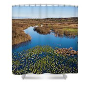 Panorama Of Mouth Of Betsie River Shower Curtain