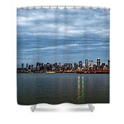 Panorama Of Seattle Skyline At Night With Storm Clouds Shower Curtain