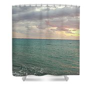 Panoramic View Of Aphrodite's Birthplace Or Petra Tou Romiou In Cyprus Shower Curtain