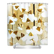 Paper Clouds And Metal Planes Shower Curtain