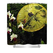 Parasol Among The Orchids Shower Curtain