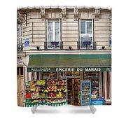 Paris Corner Grocery Shower Curtain by Brian Jannsen