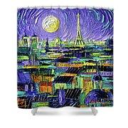 Paris Purple Night - Textural Impressionist Stylized Cityscape Mona Edulesco Shower Curtain