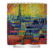Paris Rooftops View From Centre Pompidou - Textural Impressionist Stylized Cityscape Mona Edulesco Shower Curtain
