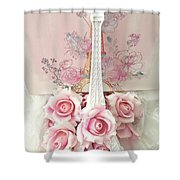 Paris Shabby Chic Pink White Roses Eiffel Tower Baby Girl Nursery Decor - Paris Pink Roses Shower Curtain