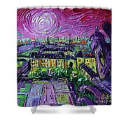 Paris View With Gargoyles Diptych Oil Painting Right Panel Shower Curtain