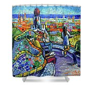 Park Guell Enchanted Visitors - Impasto Palette Knife Stylized Cityscape Shower Curtain