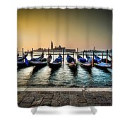 Parked Gondolas, Early Morning In Venice, Italy.  Shower Curtain