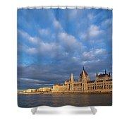 Parliament On The Danube Shower Curtain by Davor Zerjav