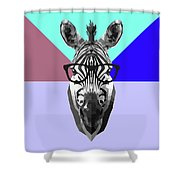 Party Zebra In Glasses Shower Curtain