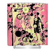 Past Patterns And Bygone Buttons Shower Curtain
