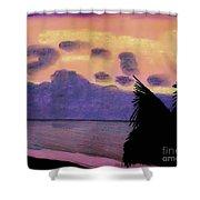 Pastel Palm Tree Sunrise Shower Curtain