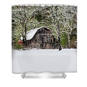 Patriotic Barn In The Snow Shower Curtain